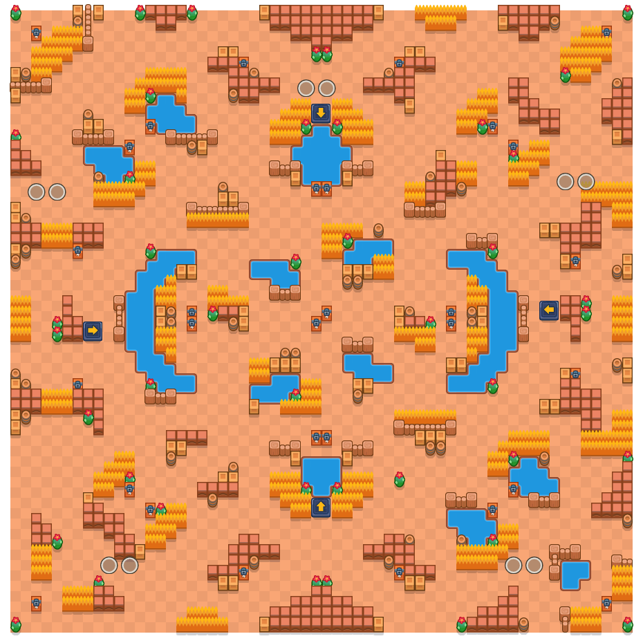 Acid Lakes is a Duo Showdown Brawl Stars map. Check out Acid Lakes's map picture for Duo Showdown and the best and recommended brawlers in Brawl Stars.