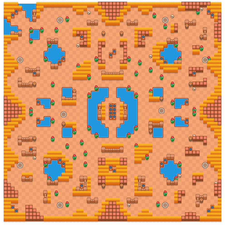 Acid Lakes is a Solo Showdown Brawl Stars map. Check out Acid Lakes's map picture for Solo Showdown and the best and recommended brawlers in Brawl Stars.