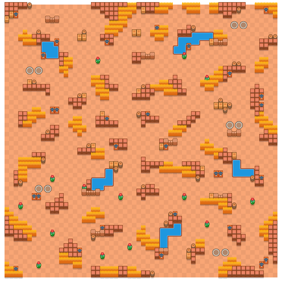 Barren Badlands is a Duo Showdown Brawl Stars map. Check out Barren Badlands's map picture for Duo Showdown and the best and recommended brawlers in Brawl Stars.