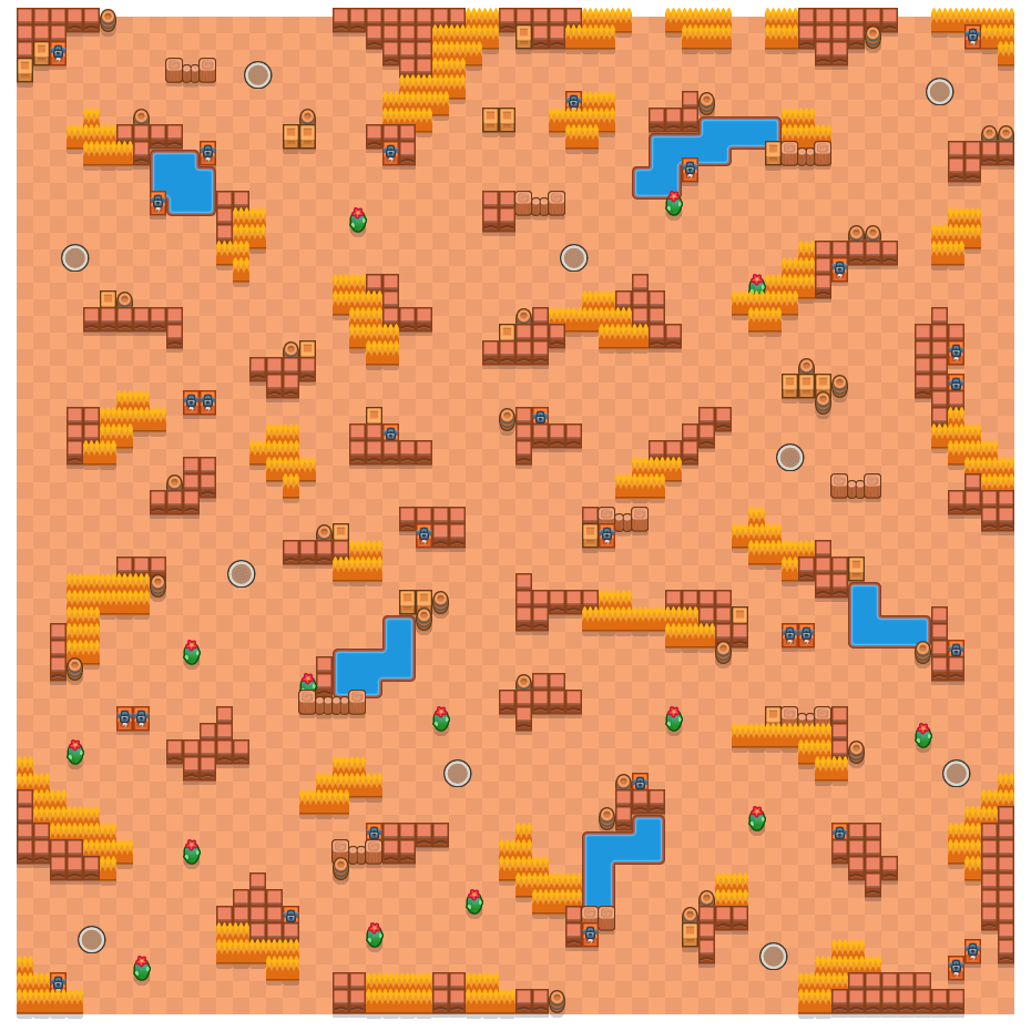 Barren Badlands is a Solo Showdown Brawl Stars map. Check out Barren Badlands's map picture for Solo Showdown and the best and recommended brawlers in Brawl Stars.