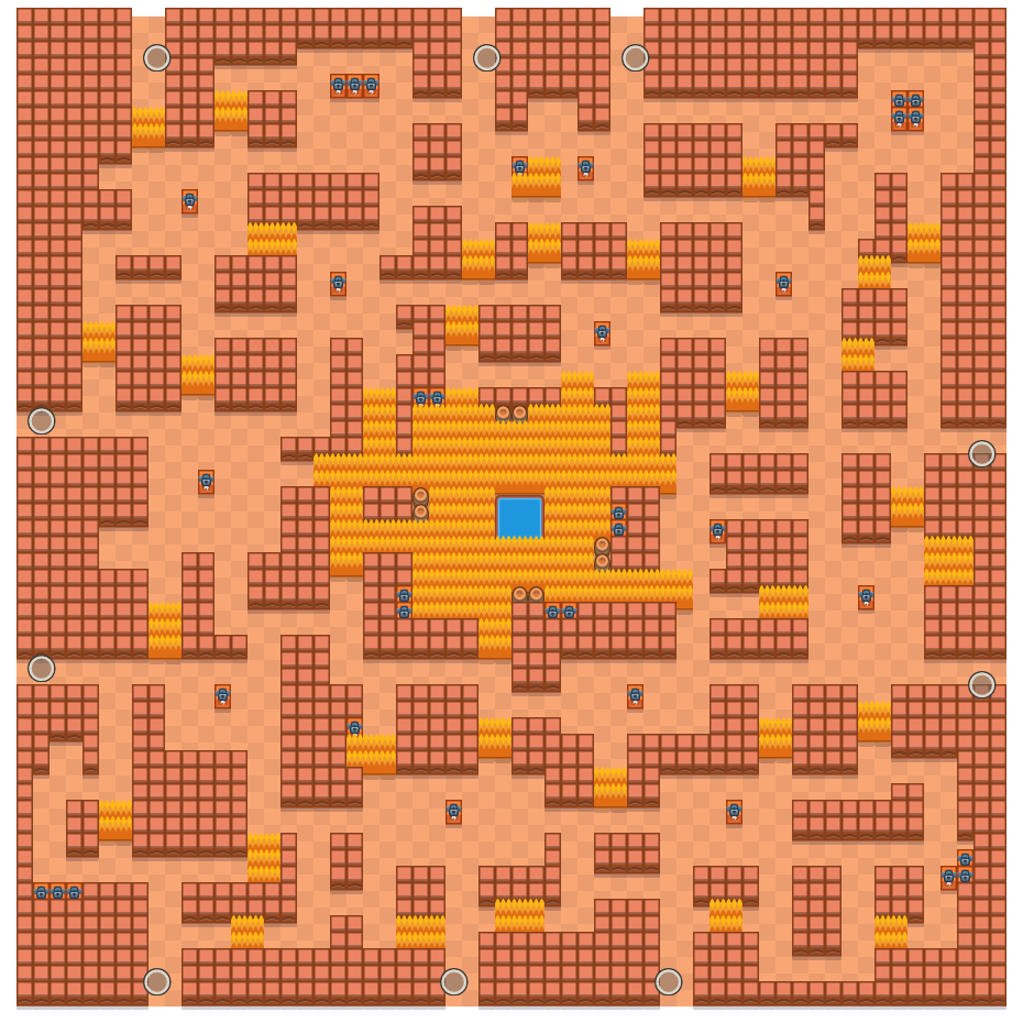 Oproergrot is a Solo-Showdown Brawl Stars map. Check out Oproergrot's map picture for Solo-Showdown and the best and recommended brawlers in Brawl Stars.