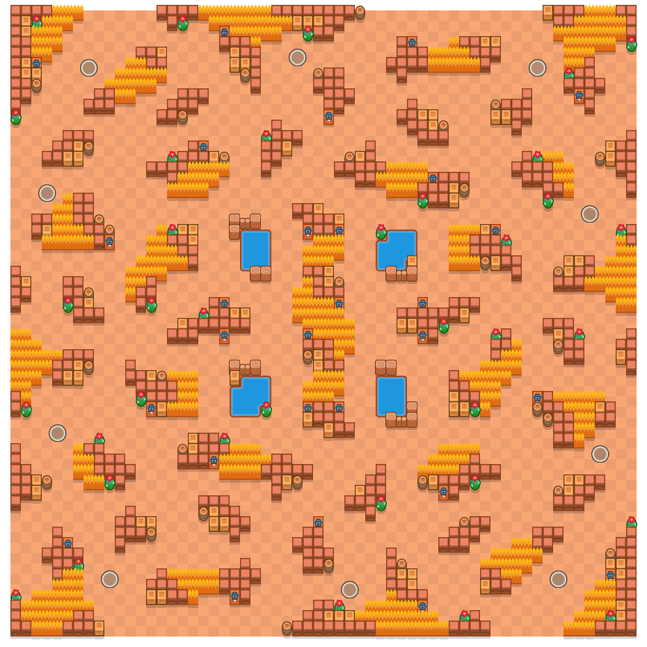 Rond ravijn is a Solo-Showdown Brawl Stars map. Check out Rond ravijn's map picture for Solo-Showdown and the best and recommended brawlers in Brawl Stars.