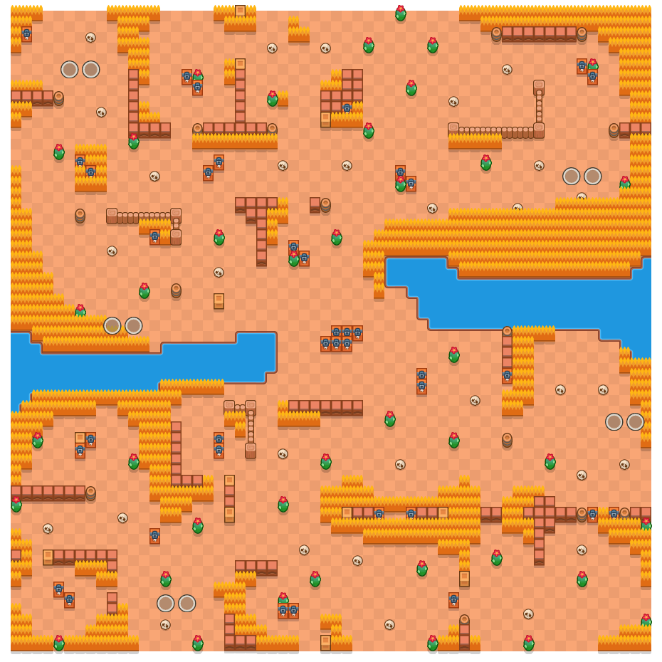 Dark Passage is a Duo Showdown Brawl Stars map. Check out Dark Passage's map picture for Duo Showdown and the best and recommended brawlers in Brawl Stars.