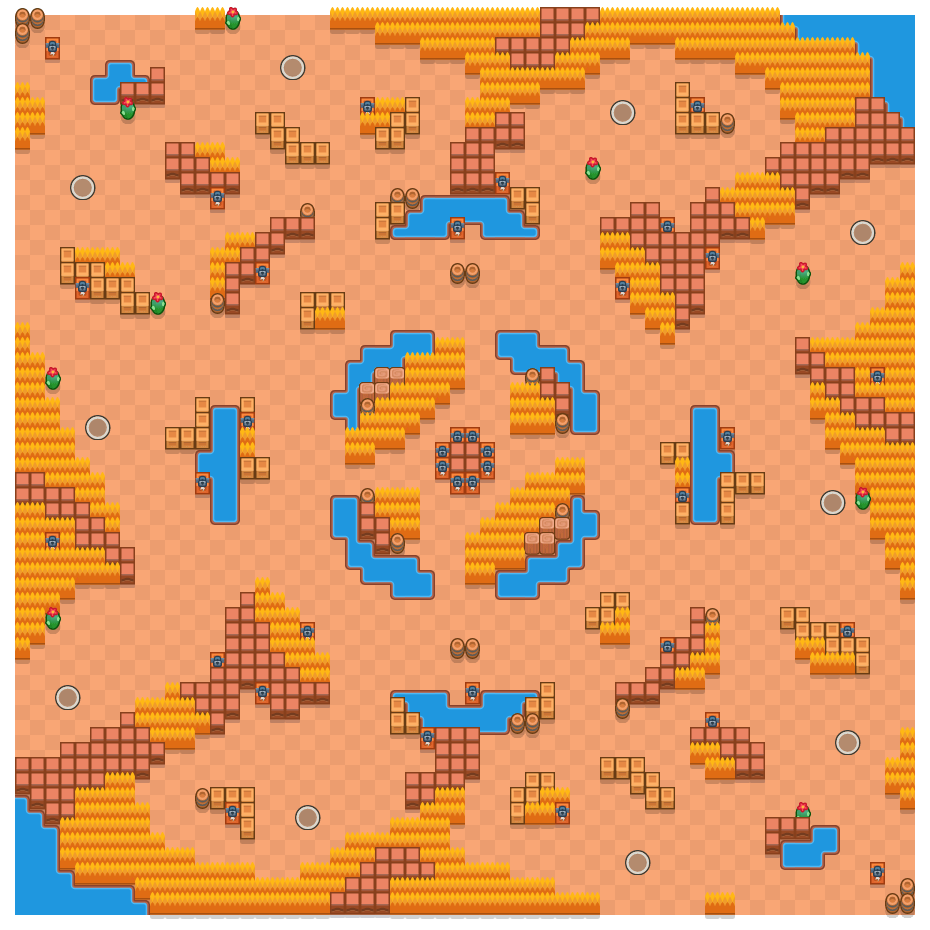Verlaten knooppunt is a Solo-Showdown Brawl Stars map. Check out Verlaten knooppunt's map picture for Solo-Showdown and the best and recommended brawlers in Brawl Stars.