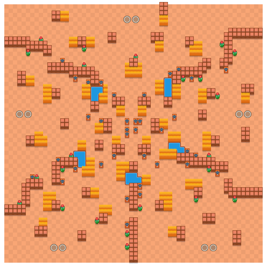 Double Trouble is a Duo Showdown Brawl Stars map. Check out Double Trouble's map picture for Duo Showdown and the best and recommended brawlers in Brawl Stars.
