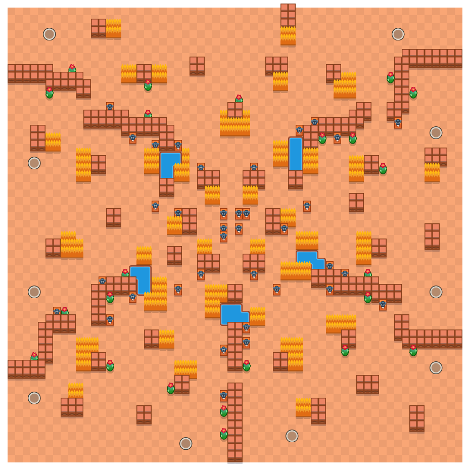 Double Trouble is a Solo Showdown Brawl Stars map. Check out Double Trouble's map picture for Solo Showdown and the best and recommended brawlers in Brawl Stars.