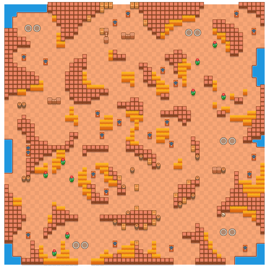 Dune Drift is a Duo Showdown Brawl Stars map. Check out Dune Drift's map picture for Duo Showdown and the best and recommended brawlers in Brawl Stars.