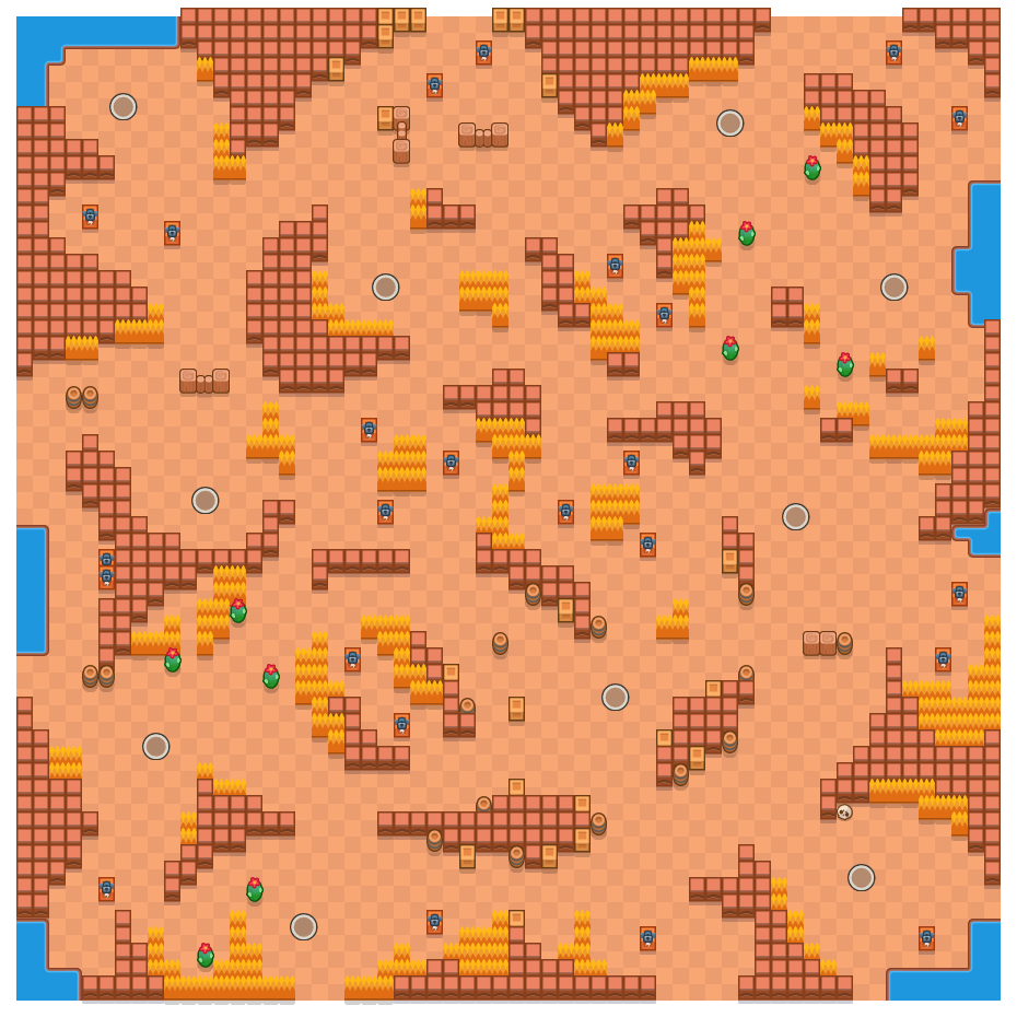 Dune Drift is a Solo Showdown Brawl Stars map. Check out Dune Drift's map picture for Solo Showdown and the best and recommended brawlers in Brawl Stars.