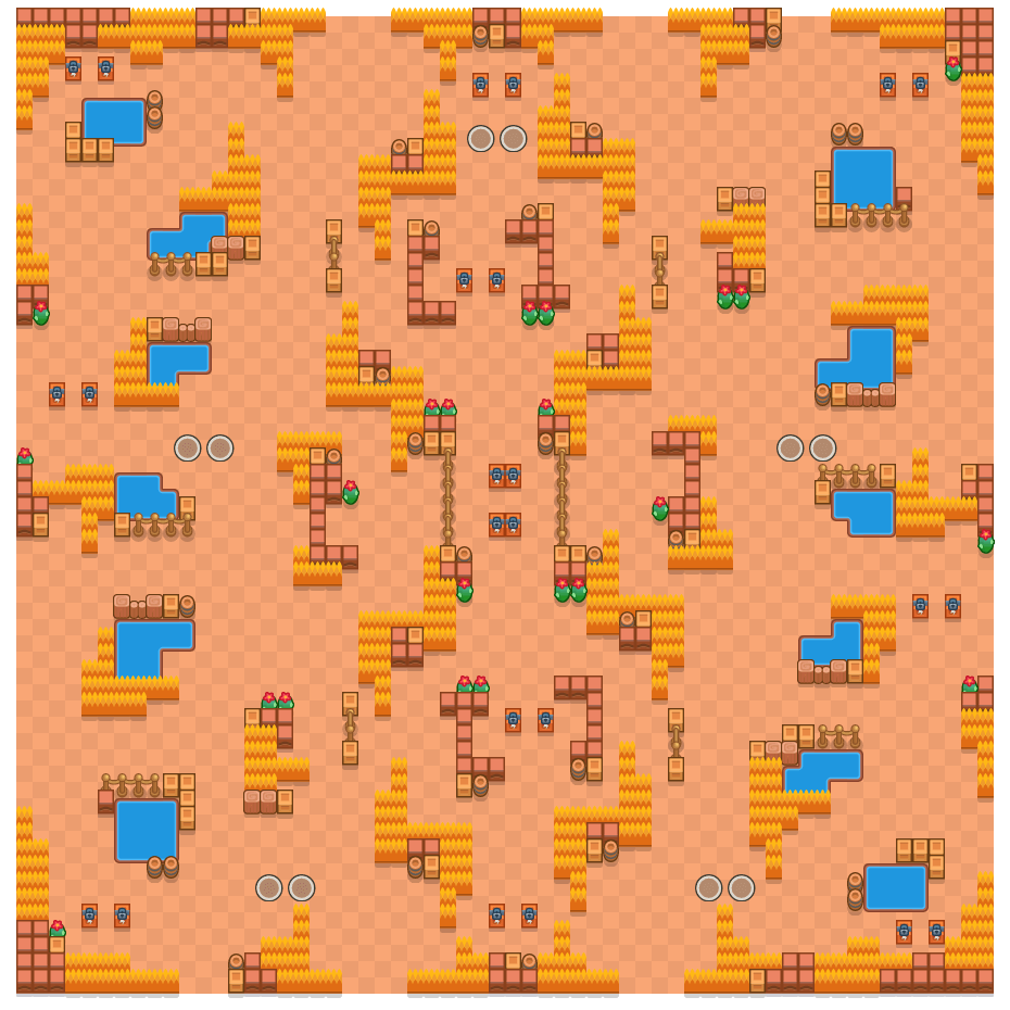 Grassy Gorge is a Duo Showdown Brawl Stars map. Check out Grassy Gorge's map picture for Duo Showdown and the best and recommended brawlers in Brawl Stars.
