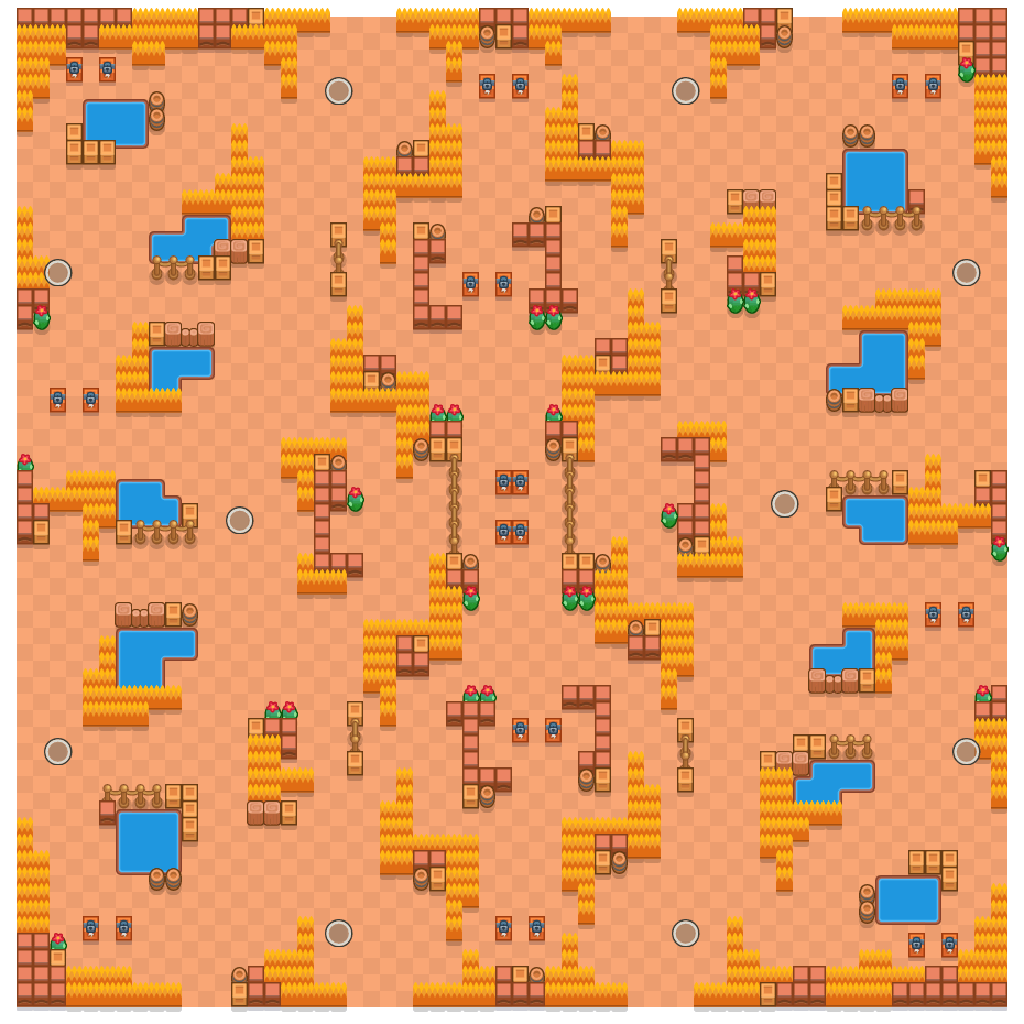 Grassy Gorge is a Solo Showdown Brawl Stars map. Check out Grassy Gorge's map picture for Solo Showdown and the best and recommended brawlers in Brawl Stars.
