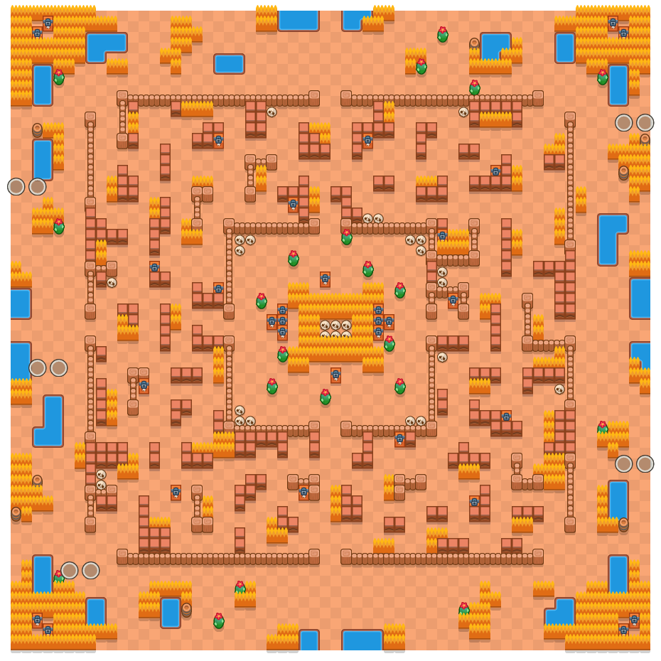 Hot Maze is a Duo Showdown Brawl Stars map. Check out Hot Maze's map picture for Duo Showdown and the best and recommended brawlers in Brawl Stars.