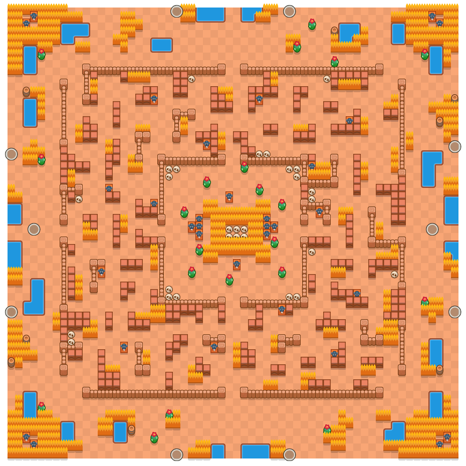 Hot Maze is a Solo Showdown Brawl Stars map. Check out Hot Maze's map picture for Solo Showdown and the best and recommended brawlers in Brawl Stars.