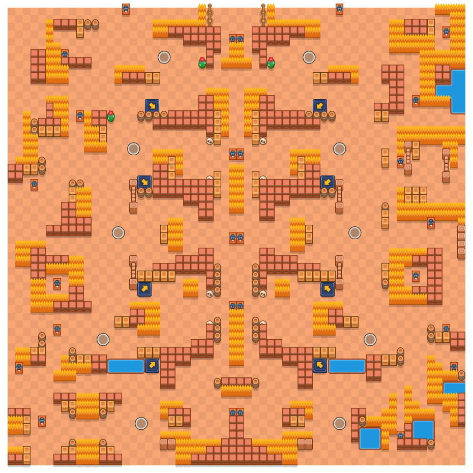 Ontsteking is a Solo-Showdown Brawl Stars map. Check out Ontsteking's map picture for Solo-Showdown and the best and recommended brawlers in Brawl Stars.