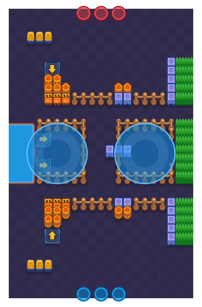 Zona assediata is a Dominio map in Brawl Stars.