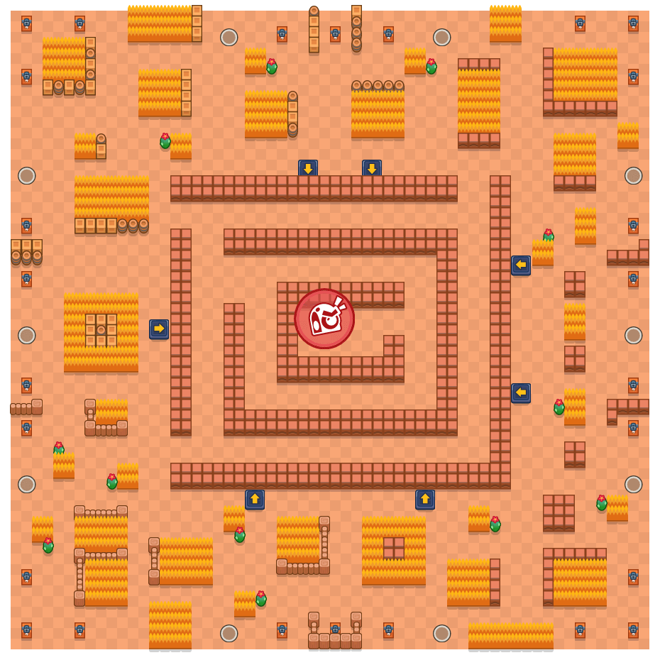 Maze Mayhem is a Takedown Brawl Stars map. Check out Maze Mayhem's map picture for Takedown and the best and recommended brawlers in Brawl Stars.