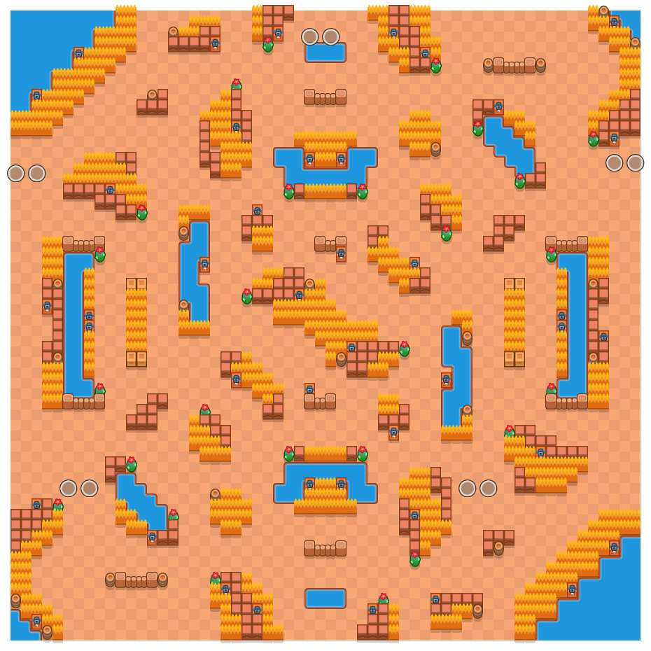 Outrageous Outback is a Duo Showdown Brawl Stars map. Check out Outrageous Outback's map picture for Duo Showdown and the best and recommended brawlers in Brawl Stars.