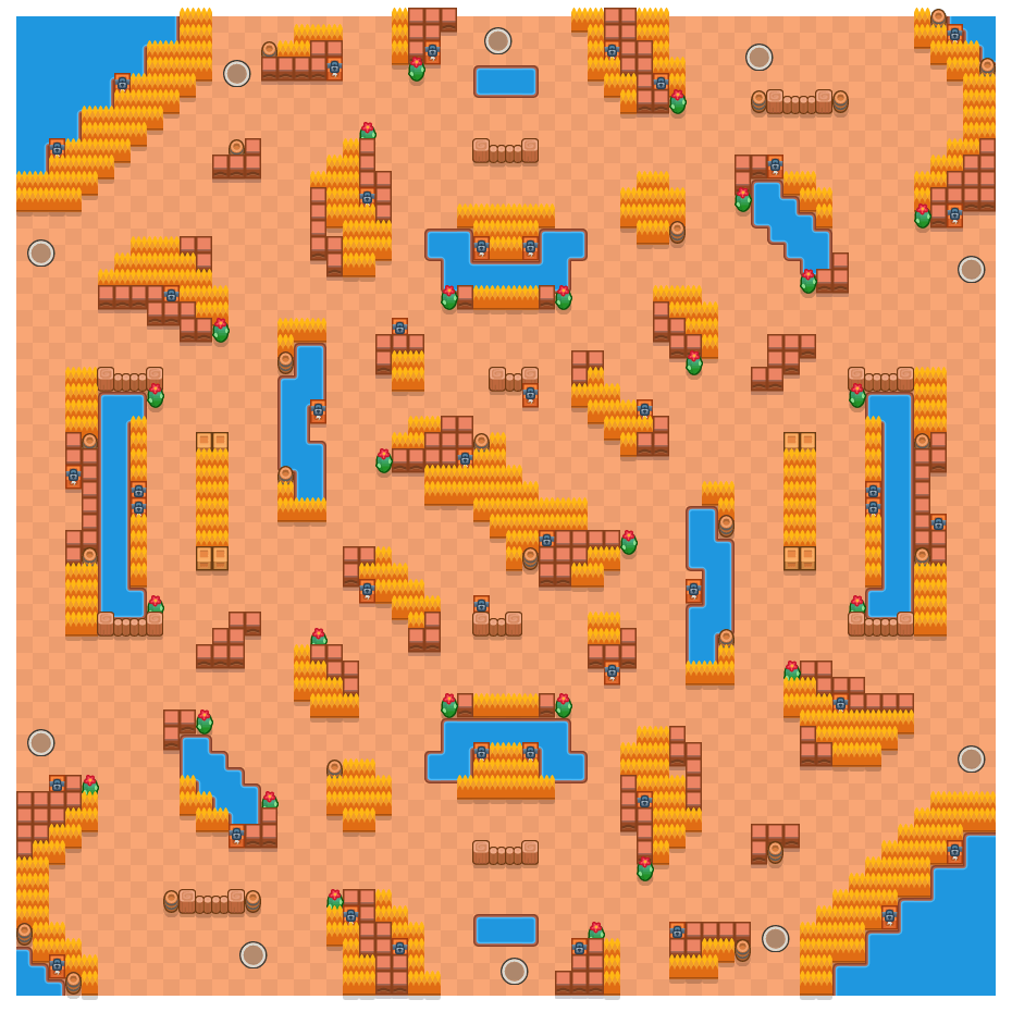 Outrageous Outback is a Solo Showdown Brawl Stars map. Check out Outrageous Outback's map picture for Solo Showdown and the best and recommended brawlers in Brawl Stars.