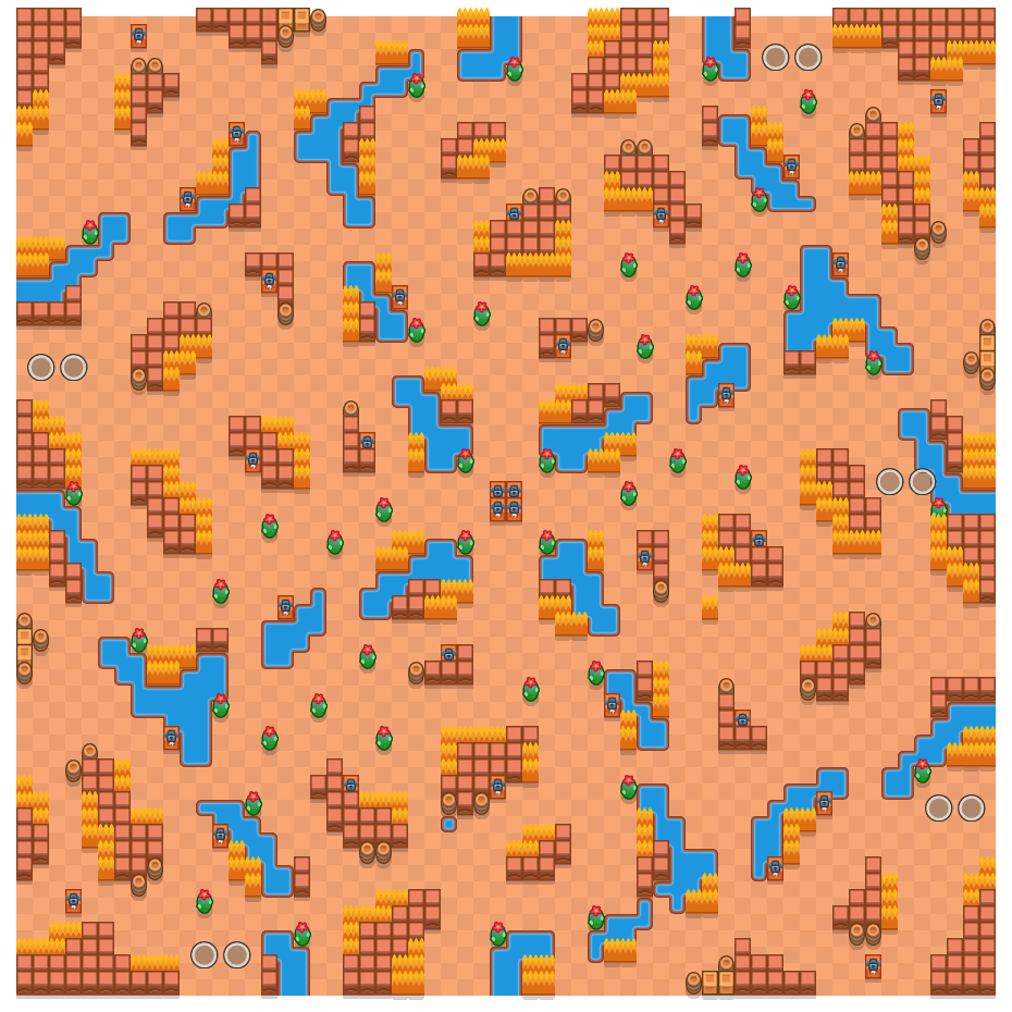 River Rush is a Duo Showdown Brawl Stars map. Check out River Rush's map picture for Duo Showdown and the best and recommended brawlers in Brawl Stars.