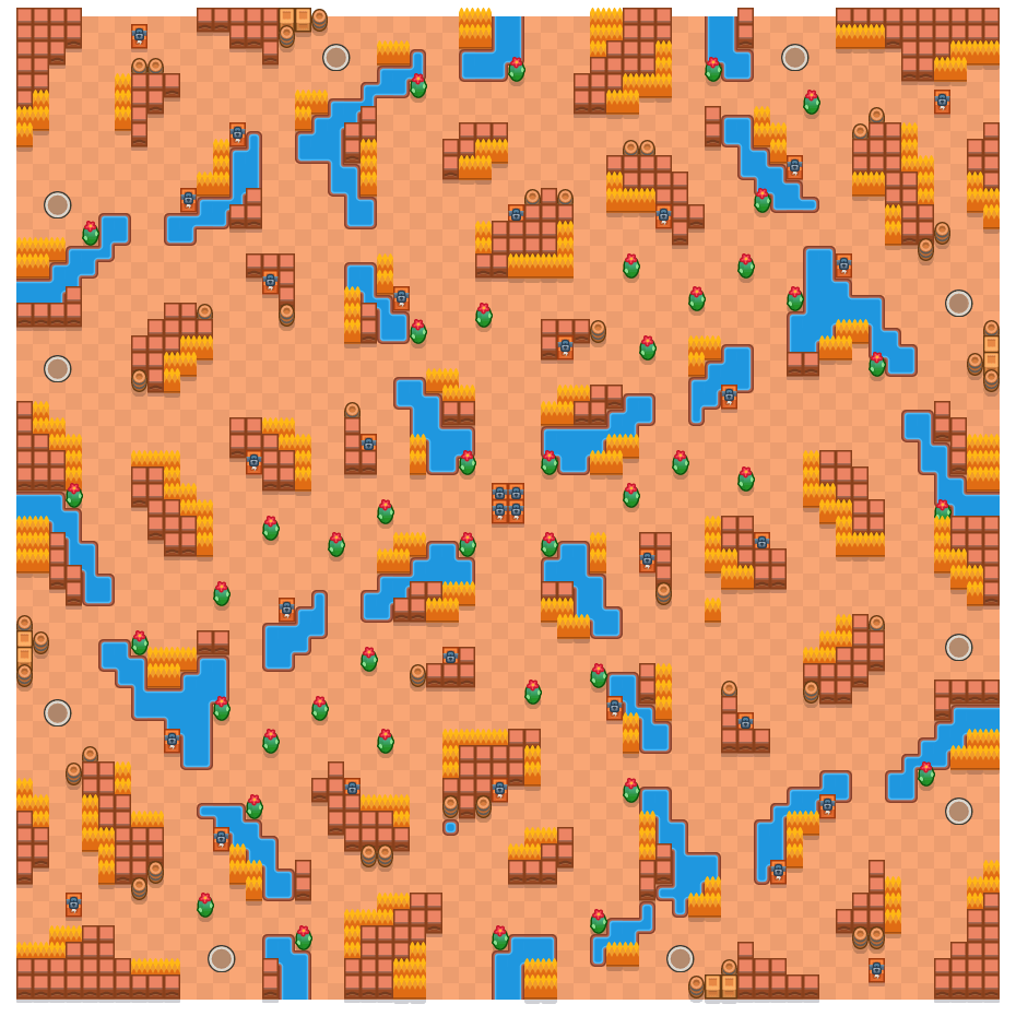 River Rush is a Solo Showdown Brawl Stars map. Check out River Rush's map picture for Solo Showdown and the best and recommended brawlers in Brawl Stars.