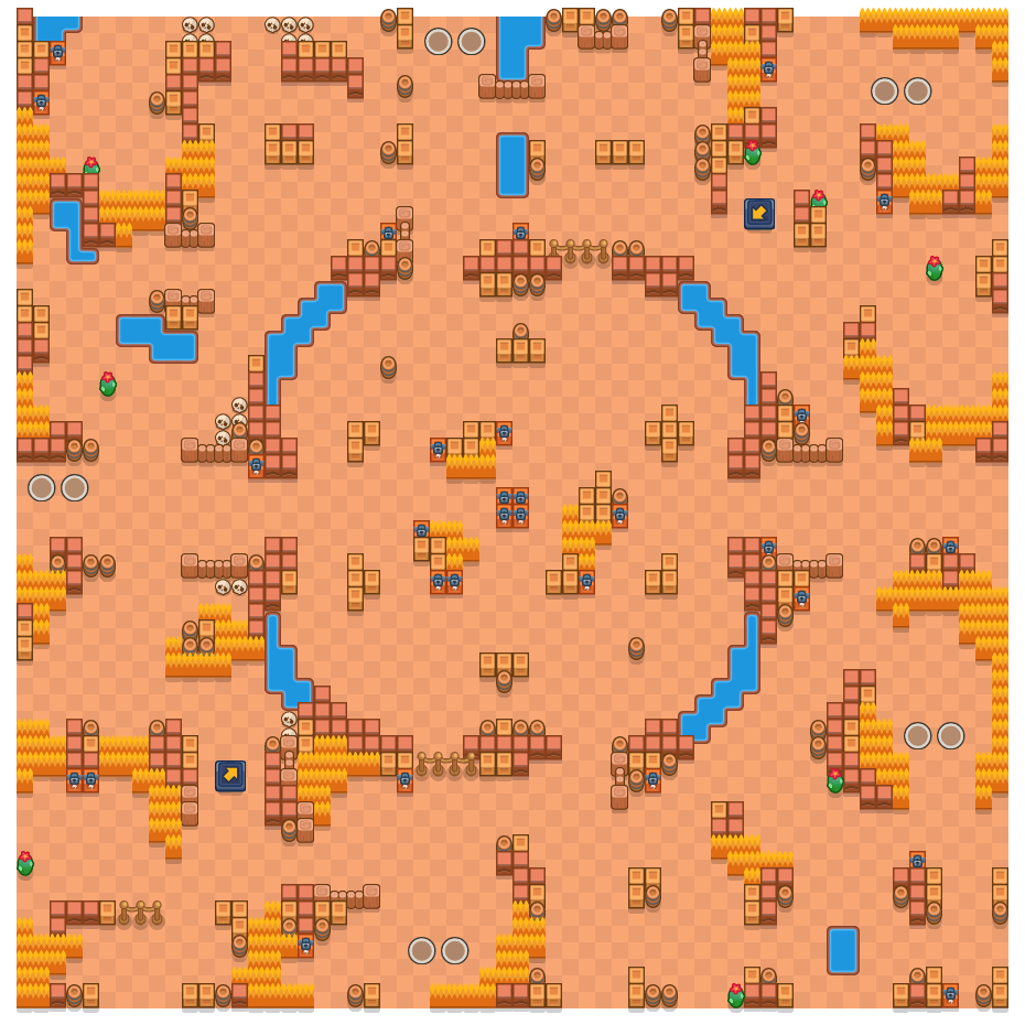 Riverside Ring is a Duo Showdown Brawl Stars map. Check out Riverside Ring's map picture for Duo Showdown and the best and recommended brawlers in Brawl Stars.