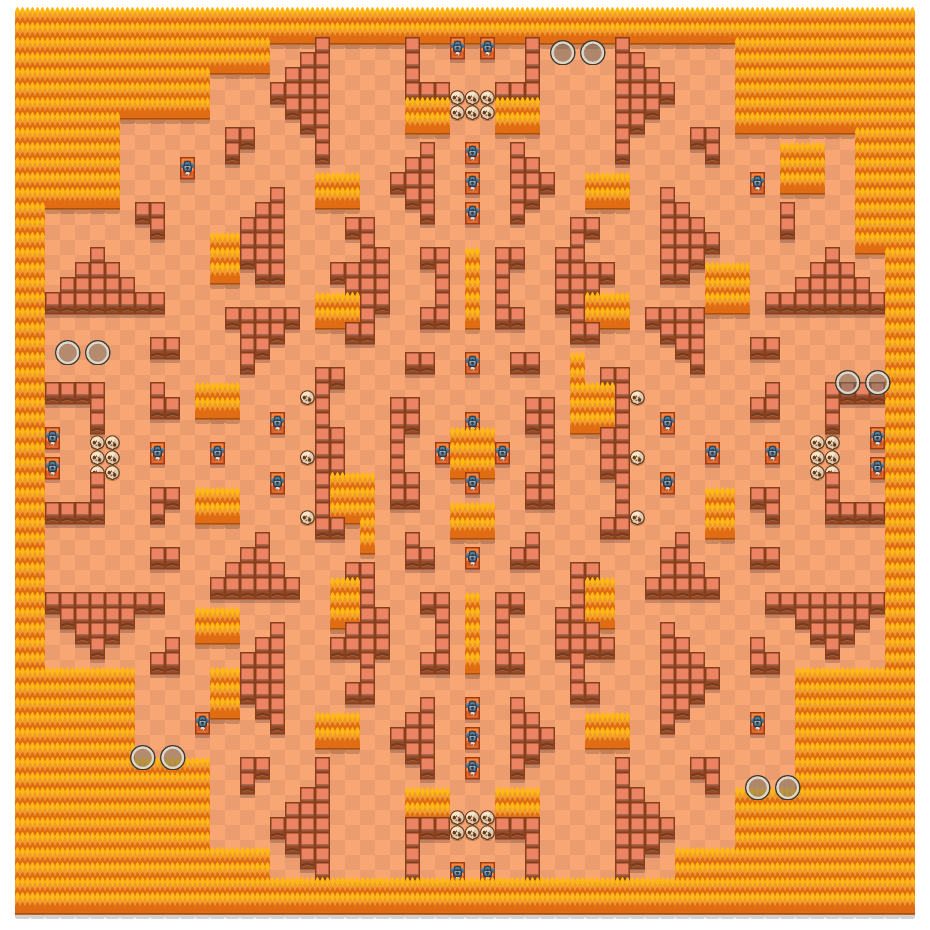 Rockwall Brawl is a Duo Showdown Brawl Stars map. Check out Rockwall Brawl's map picture for Duo Showdown and the best and recommended brawlers in Brawl Stars.