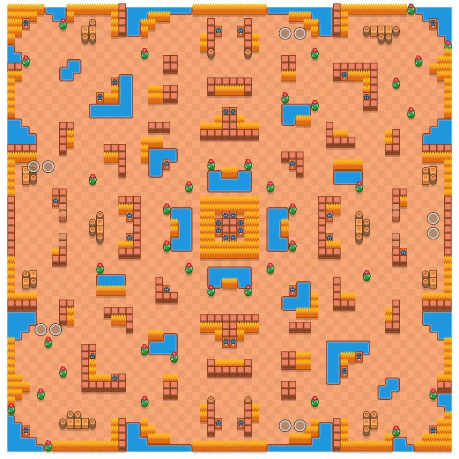 Scorched Stone is a Duo Showdown Brawl Stars map. Check out Scorched Stone's map picture for Duo Showdown and the best and recommended brawlers in Brawl Stars.