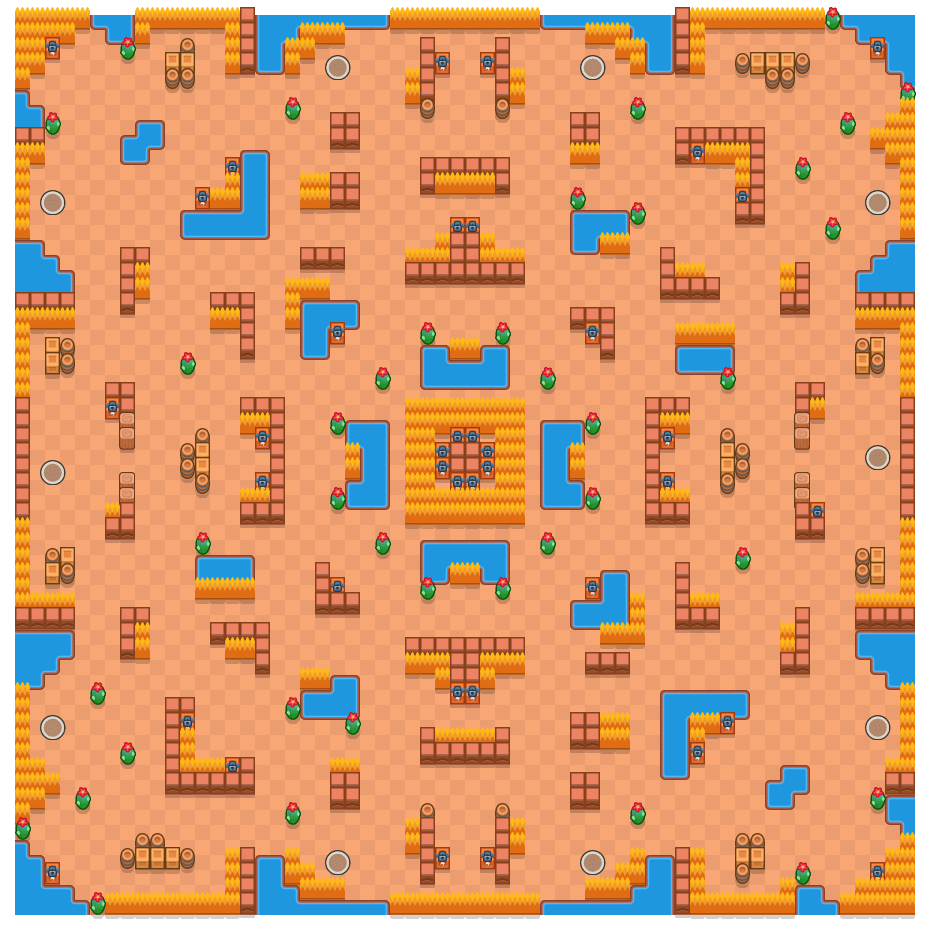 焦黑大地 is a 单人荒野决斗 map in Brawl Stars.