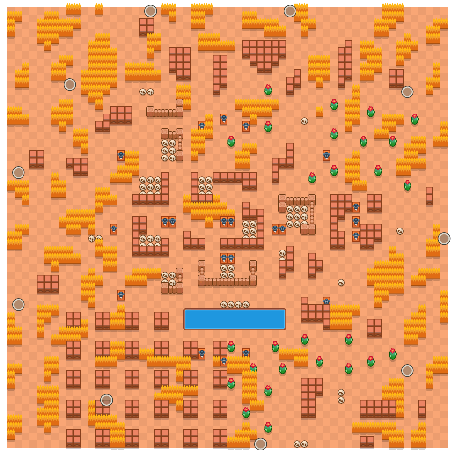 Skull Creek is a Solo Showdown Brawl Stars map. Check out Skull Creek's map picture for Solo Showdown and the best and recommended brawlers in Brawl Stars.