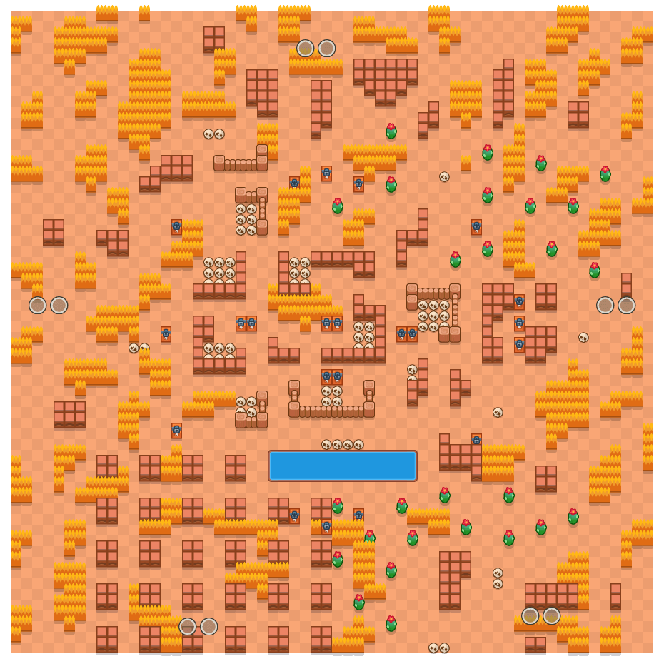 Skull Creek is a Duo Showdown Brawl Stars map. Check out Skull Creek's map picture for Duo Showdown and the best and recommended brawlers in Brawl Stars.