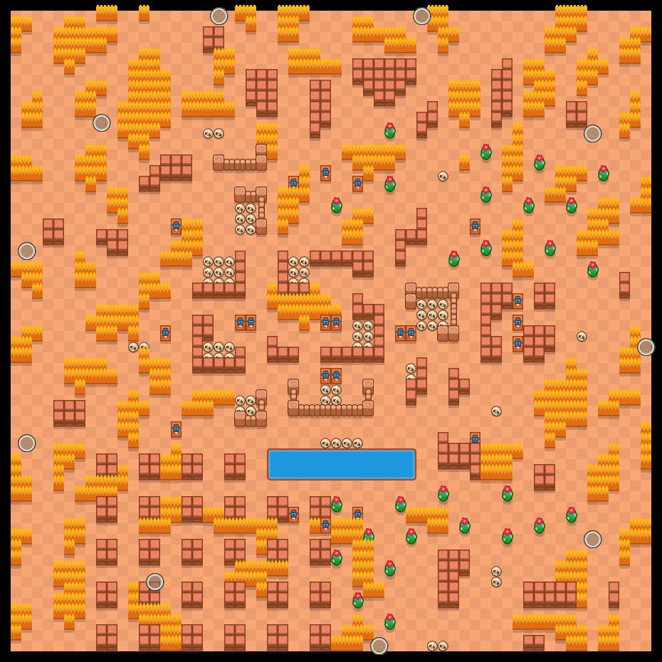 Lago de ossos is a Combate Solitário map in Brawl Stars.