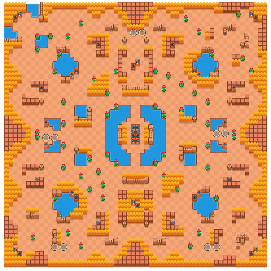 Thousand Lakes is a Duo Showdown Brawl Stars map. Check out Thousand Lakes's map picture for Duo Showdown and the best and recommended brawlers in Brawl Stars.