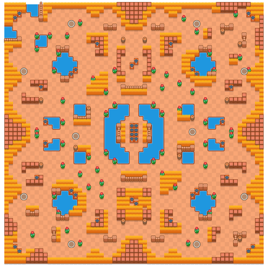 Duizend meren is a Solo-Showdown Brawl Stars map. Check out Duizend meren's map picture for Solo-Showdown and the best and recommended brawlers in Brawl Stars.