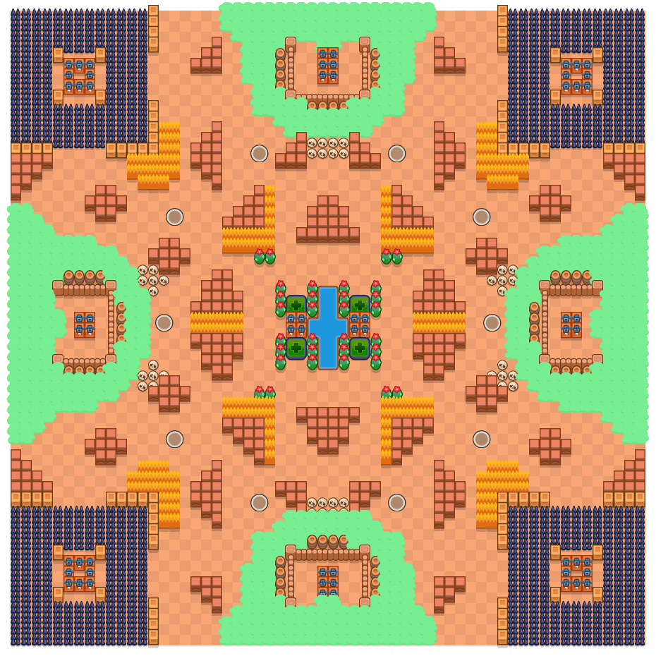 Gevaarkaart is a Solo-Showdown Brawl Stars map. Check out Gevaarkaart's map picture for Solo-Showdown and the best and recommended brawlers in Brawl Stars.