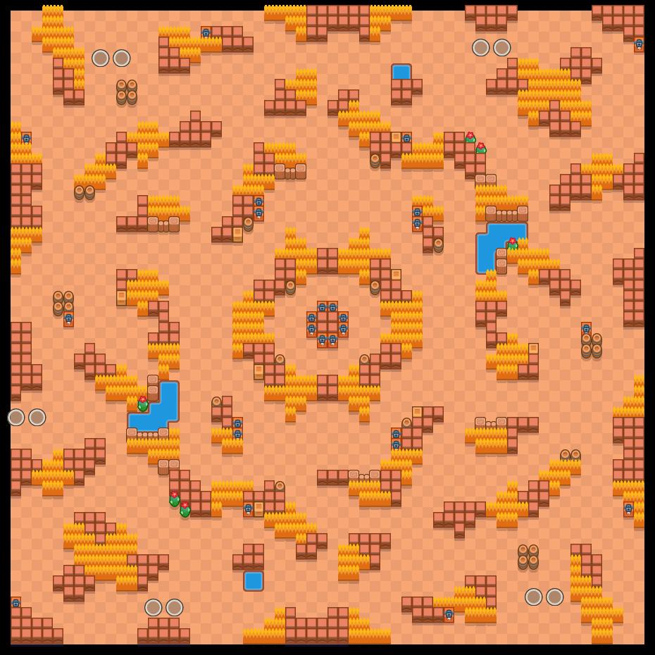 Aarteenmetsästys is a Kaksinpeliselkkaus map in Brawl Stars.