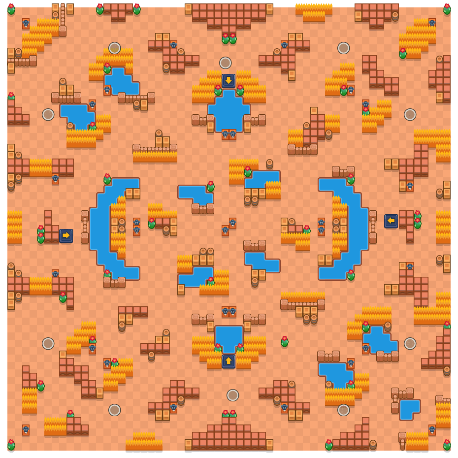 Duemilalaghi is a Sopravvivenza (solo) map in Brawl Stars.